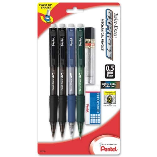 4-Pack Pentel Twist Erase Mechanical Pencil w/ Eraser + Refill Lead
