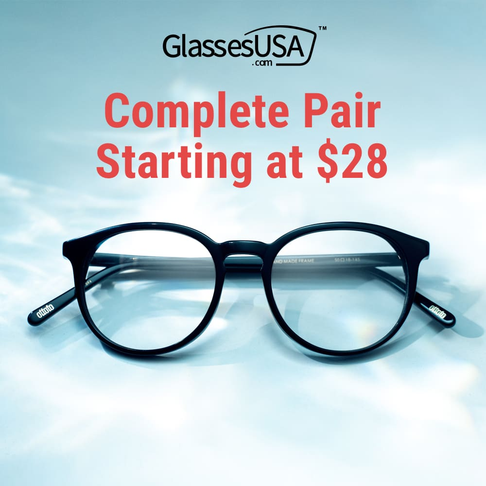 Need glasses? Get a complete pair at GlassesUSA
