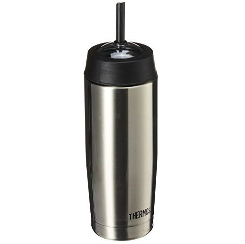 Thermos 16 Ounce Vacuum Insulated Cold Cup with Straw, Stainless Steel