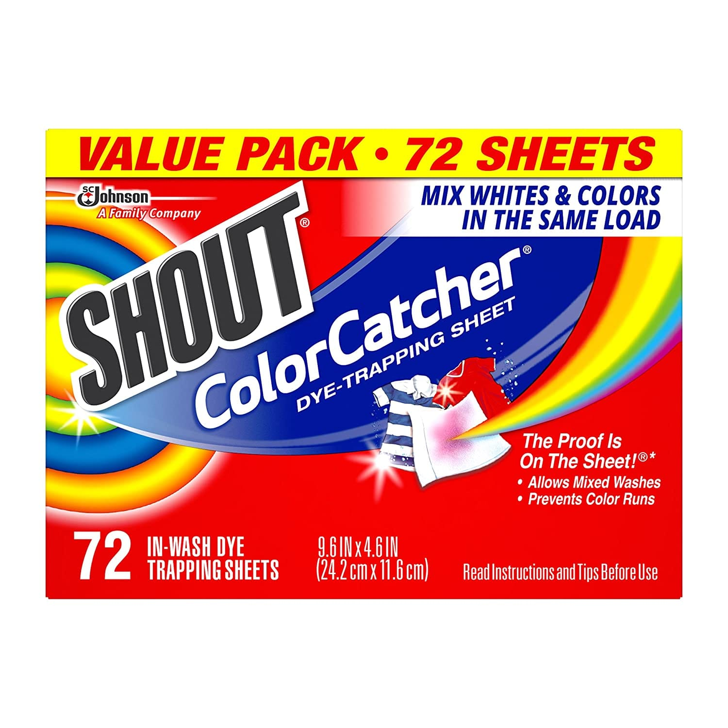 72-Count Shout Color Catcher Dye Trapping Sheets