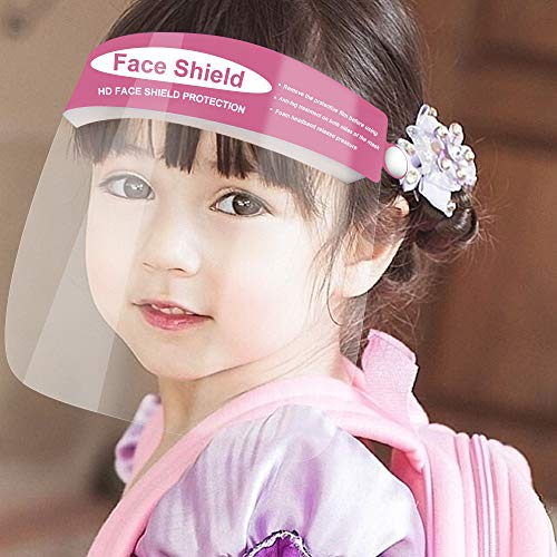 5Pcs Kids Protective Face Shield,Clear Safety,Protect Eyes and Face, Facial Cover for Children Outdoor Sports Headwear (5Pcs, Pink)
