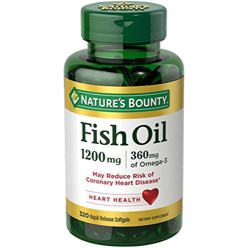 Nature's Bounty Omega-3 Fish Oil, Heart Health, 1200 mg, 320 Rapid Release Softgels x 2