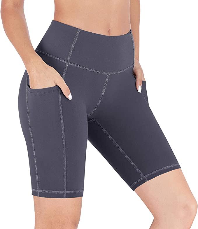 女式高腰瑜伽短裤,带口袋超方便,遮小腹超显瘦