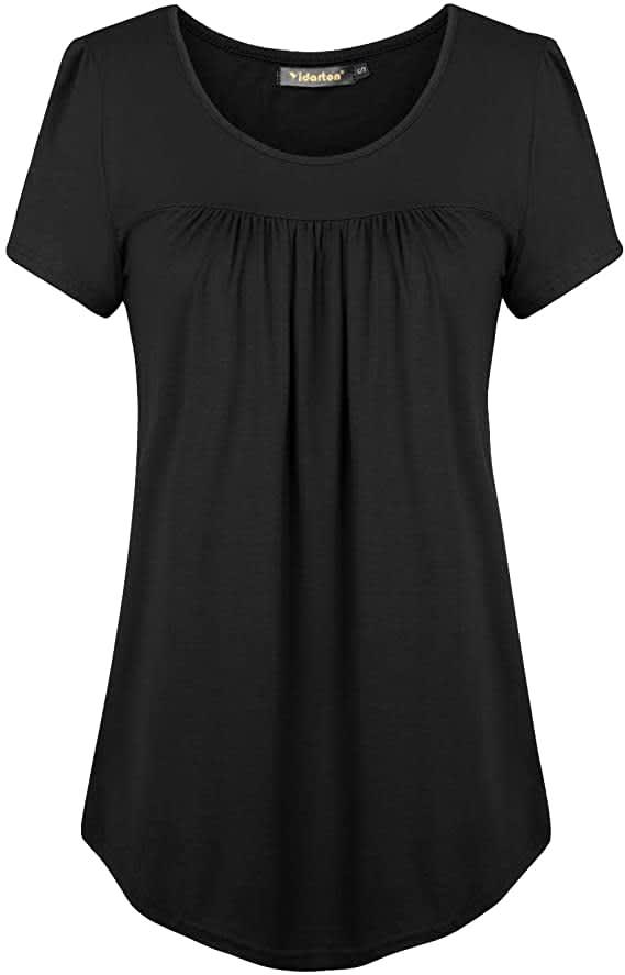 Yidarton Women's Scoop-Neck Pleated Tunic Shirt