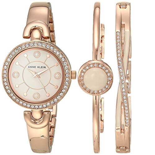 Anne Klein Women's Swarovski Crystal Accented Watch and Bracelet Set, AK/3574BHST