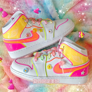 Air Jordan 1 Mid糖果色水晶底大童款篮球鞋