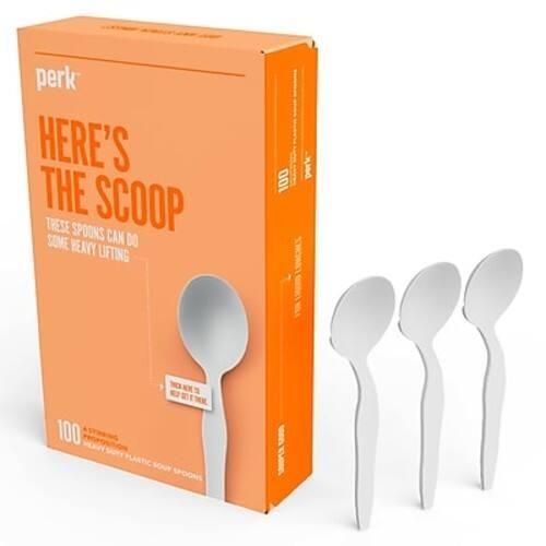 100-Count Perk Plastic Soup Spoons (White)