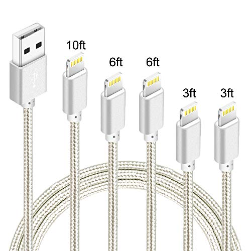 IDiSON 5Pack(3ft 3ft 6ft 6ft 10ft) iPhone Braided Nylon Lightning Cable Apple MFi Certified discount price