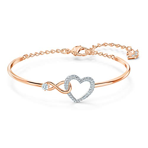 SWAROVSKI Women's Infinity Heart Bangle, White, Mixed metal finish