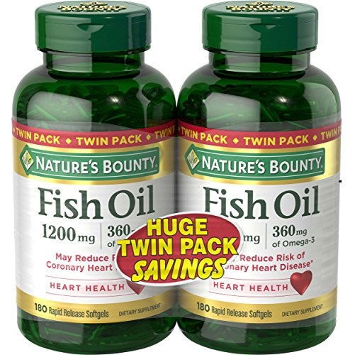 Nature's Bounty Fish Oil 1200 mg Twin Packs, 180 Rapid Release Liguid Softgels