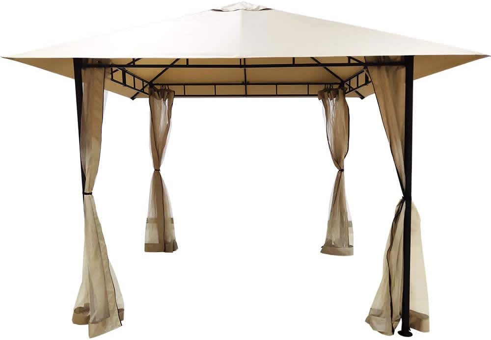 DikaSun Single Roof Gazebo with Curtains