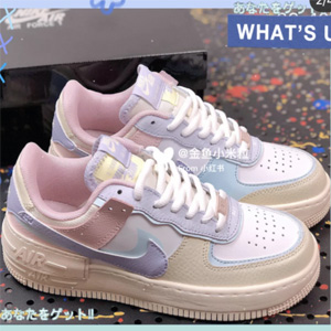 Nike Air Force 1 Shadow马卡龙红黄蓝女士运动鞋