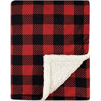 Hudson Baby Plush Blankets w/ Sherpa Back: Unicorn $6.25, Buffalo Plaid