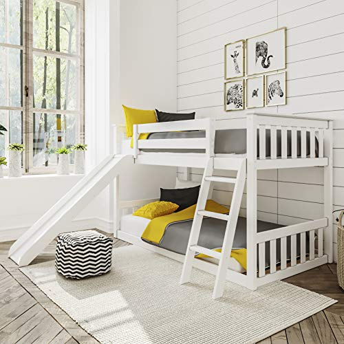 Max & Lily 180217-002 Solid Wood Twin Low Bunk Bed with Slide, White