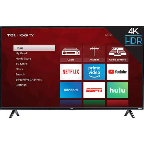 "55"" TCL 55S425 4K Ultra HD Roku Smart TV"