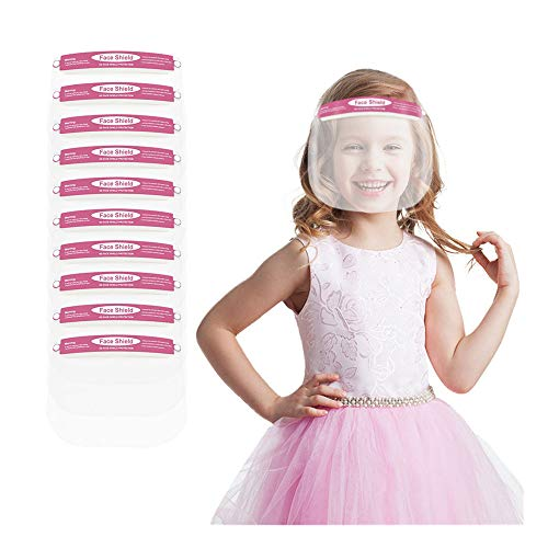 Kids Face Shields with Clear Vision, Adjustable, Lightweight and Breathable Summer Face Macks Newest (Pink- 10pcs)