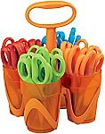 "24-Pair Fiskars 5"" Blunt-tip Kids Scissors with 4-Cup Carrying Caddy"