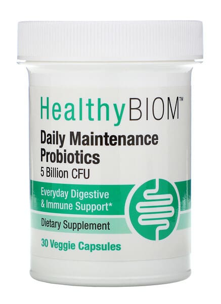 HealthyBiom Daily Maintenance Probiotics 5 Billion CFUs Veggie Capsule 30-Count Bottle
