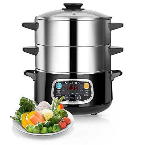 Secura Electric Food Steamer, Vegetable Double Tiered Stackable Baskets with Timer 1200W Fast Heating Stainless Steel Digital Steamer 8.5 Quart