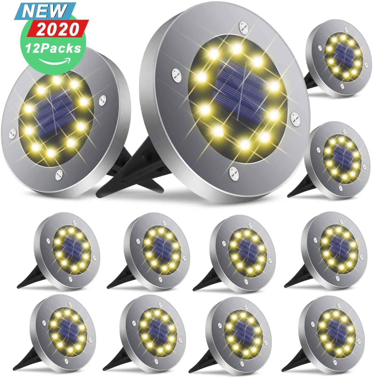 Broom Solar In-Ground Patio Lights 12-Pack