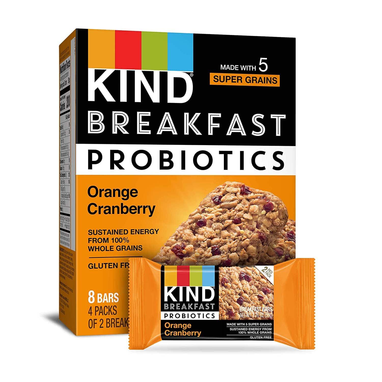 32-Count 1.76-Oz Kind Breakfast Probiotic Bars (Orange Cranberry)
