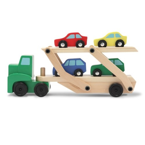 Amazon: Melissa & Doug Car Carrier Truck & Cars Wooden Set