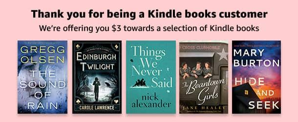 Select Amazon Accounts: $3 Kindle Credit Towards Select Kindle eBooks
