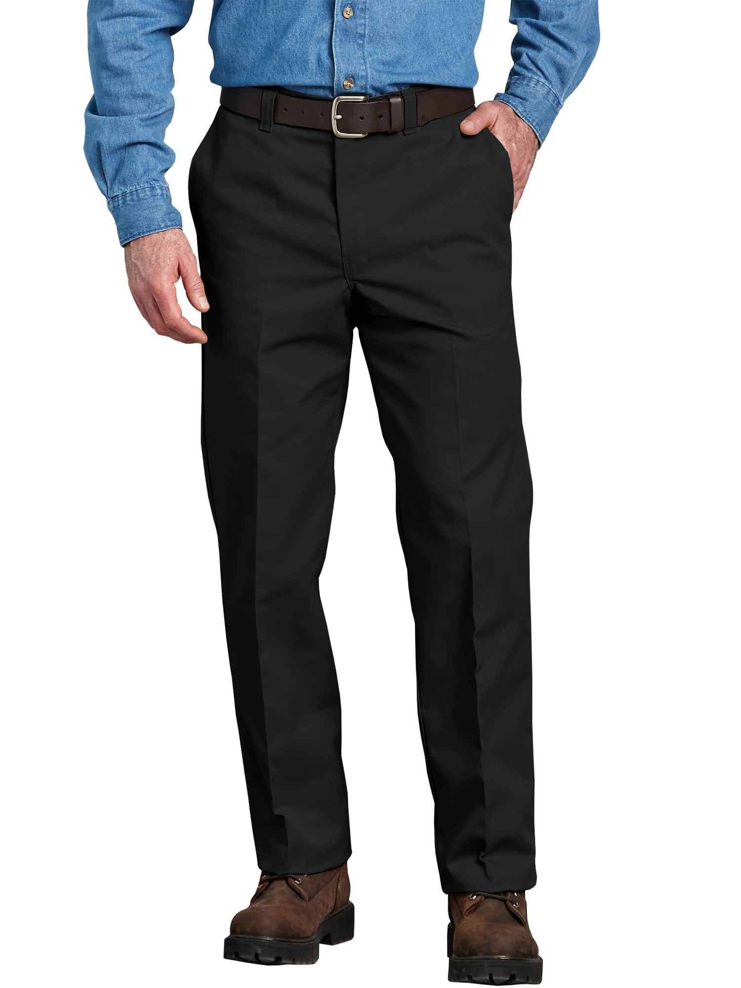 Dickies Men's Flat-Front Work Pants (Black, Dark Navy or Desert Sand)