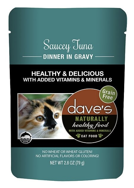 24-Pk 2.8oz Dave's Naturally Healthy Wet Cat Food Pouches (Tuna)