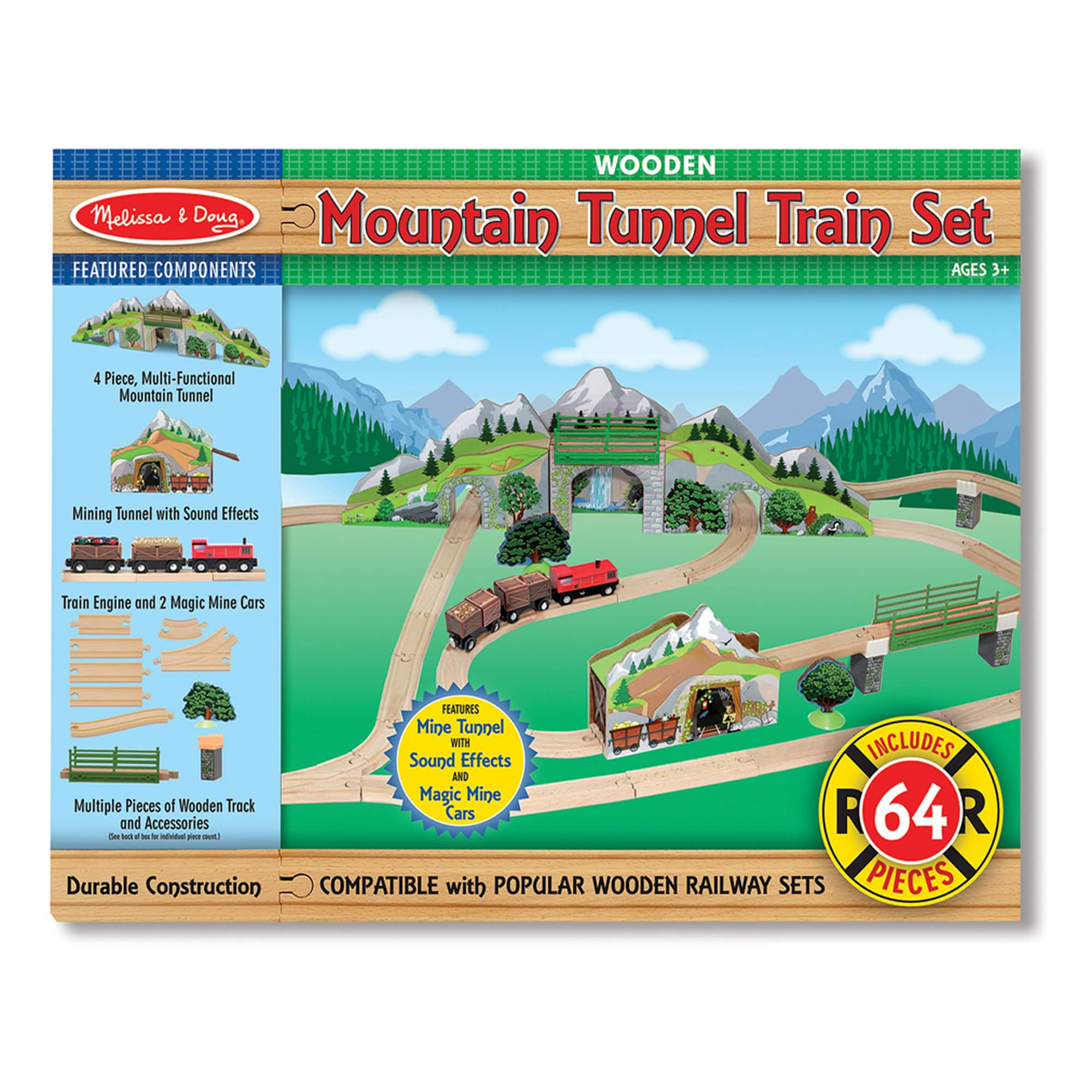 64-Piece Melissa & Doug Mountain Tunnel Wooden Train Set