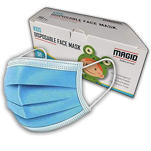 MAGID 3 Ply Disposable Kids Face Masks with Adjustable Nose Bridge - Pack of 50 Masks - Breathable 3 Layer Face Mask Covers with Elastic String Earloops (KM005)