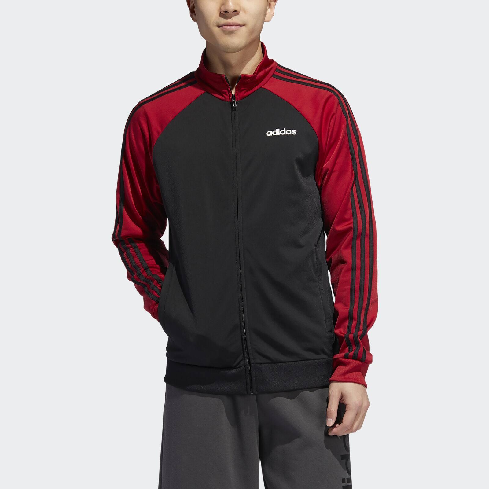 adidas Essentials Men's 3-Stripes Track Jacket  (Black / Maroon)