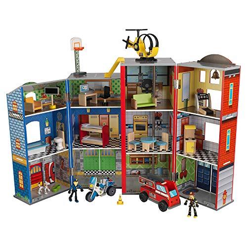 KidKraft 英雄救援中心,3层12个房间,顶层有停机坪