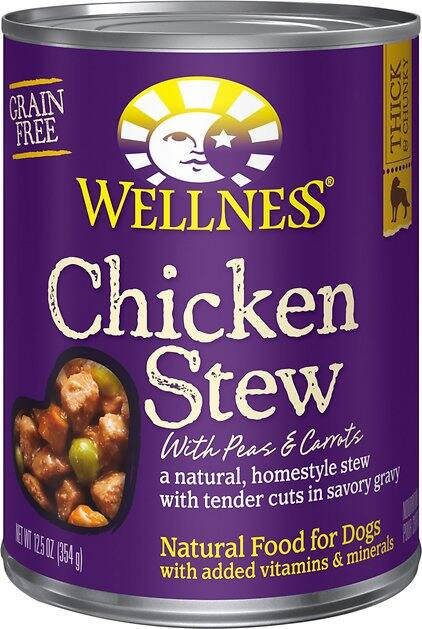 12-Ct 12.5oz Wellness Chicken Stew w/ Peas & Carrots Grain-Free Canned Dog Food