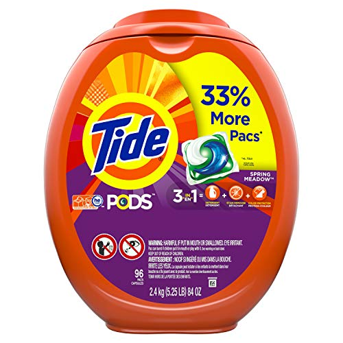 Tide PODS Laundry Detergent Liquid Pacs, Spring Meadow Scent, HE Compatible, 96 Count per pack, 77 Oz (Packaging May Vary)