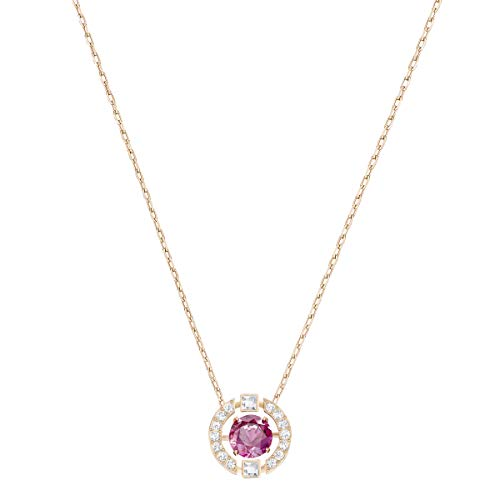 SWAROVSKI Women's Sparkling Dance Round Necklace, Red, Rose-gold tone plated