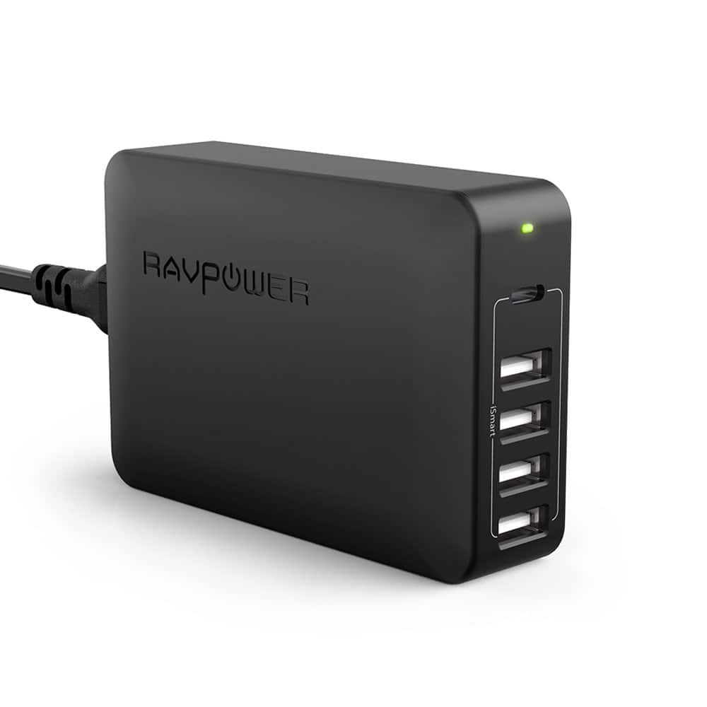 RAVPower 5-Port 60W USB Desktop Charger w/ 45W USB-C Power Delivery Port