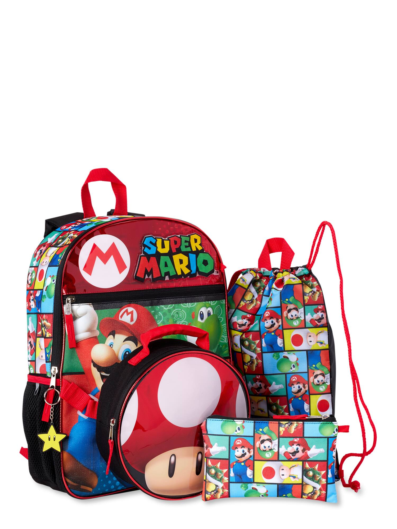 "5-Piece Super Mario 16"" Backpack + Lunchbox Set"