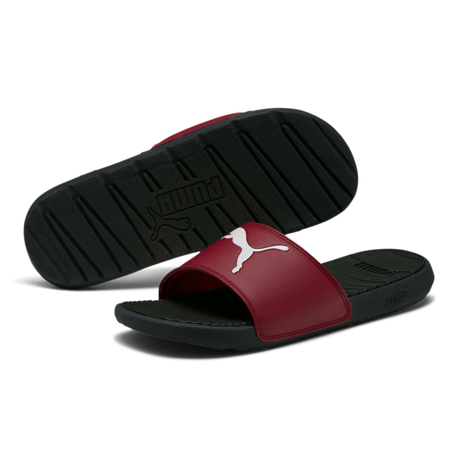 PUMA Men's Cool Cat Sport Slides Sandal (Black/Rhubarb)
