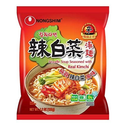 Nongshim Noodle Soup, Kimchi, 4.2 Ounce (Pack of 16)