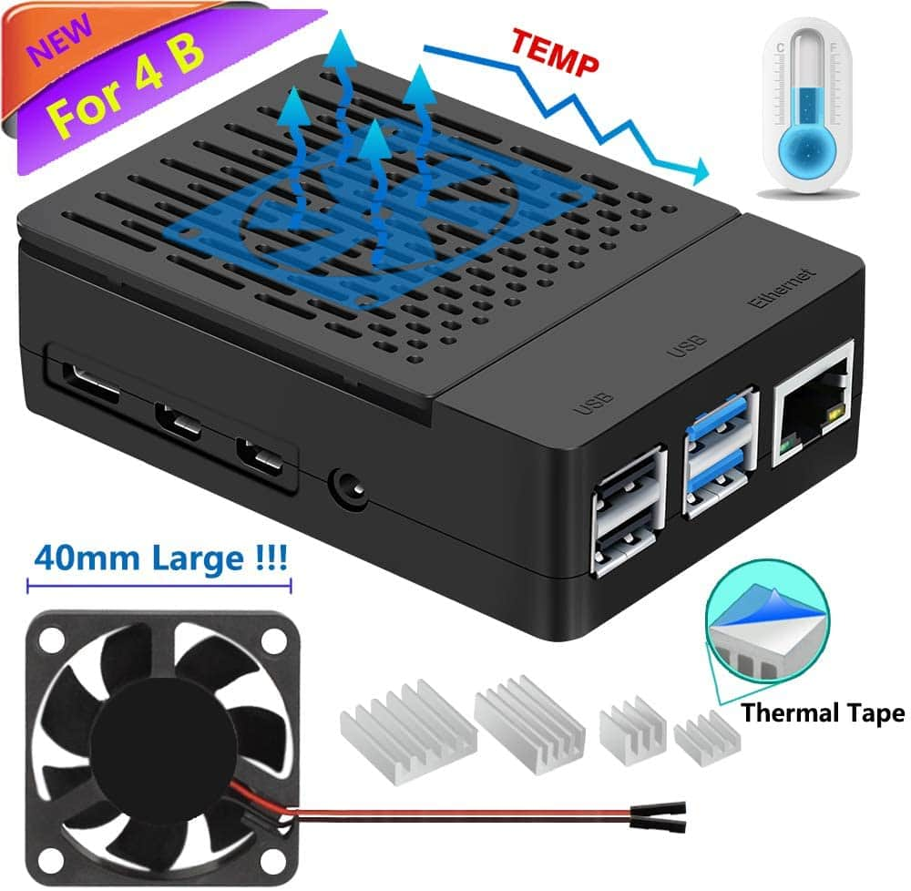 iUniker Raspberry Pi 4 Case w/ Fan + 4-Piece Heatsink (Black or White)