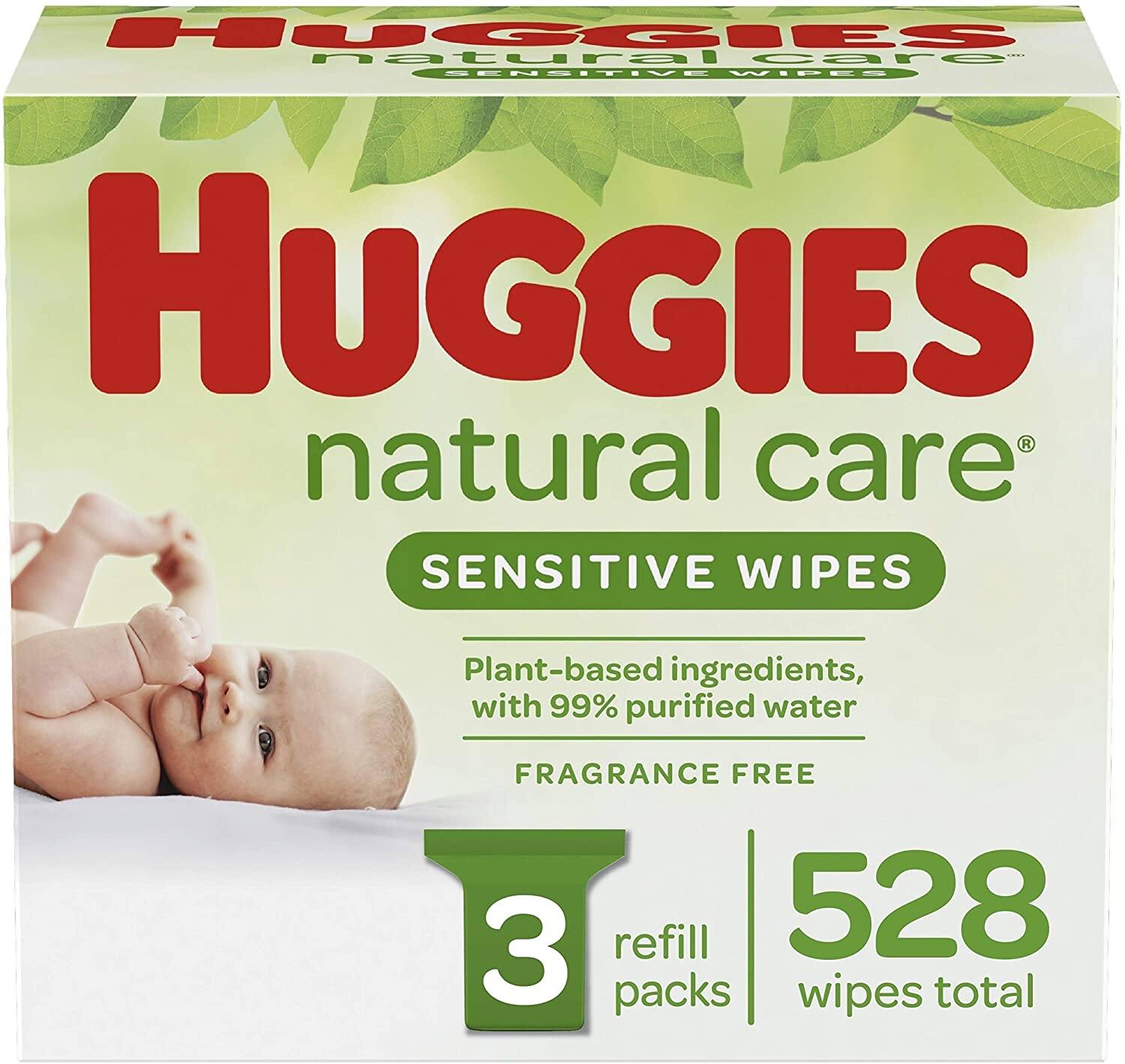 528-Count Huggies Natural Care Sensitive Baby Wipes (Unscented, 3 Refill Packs)