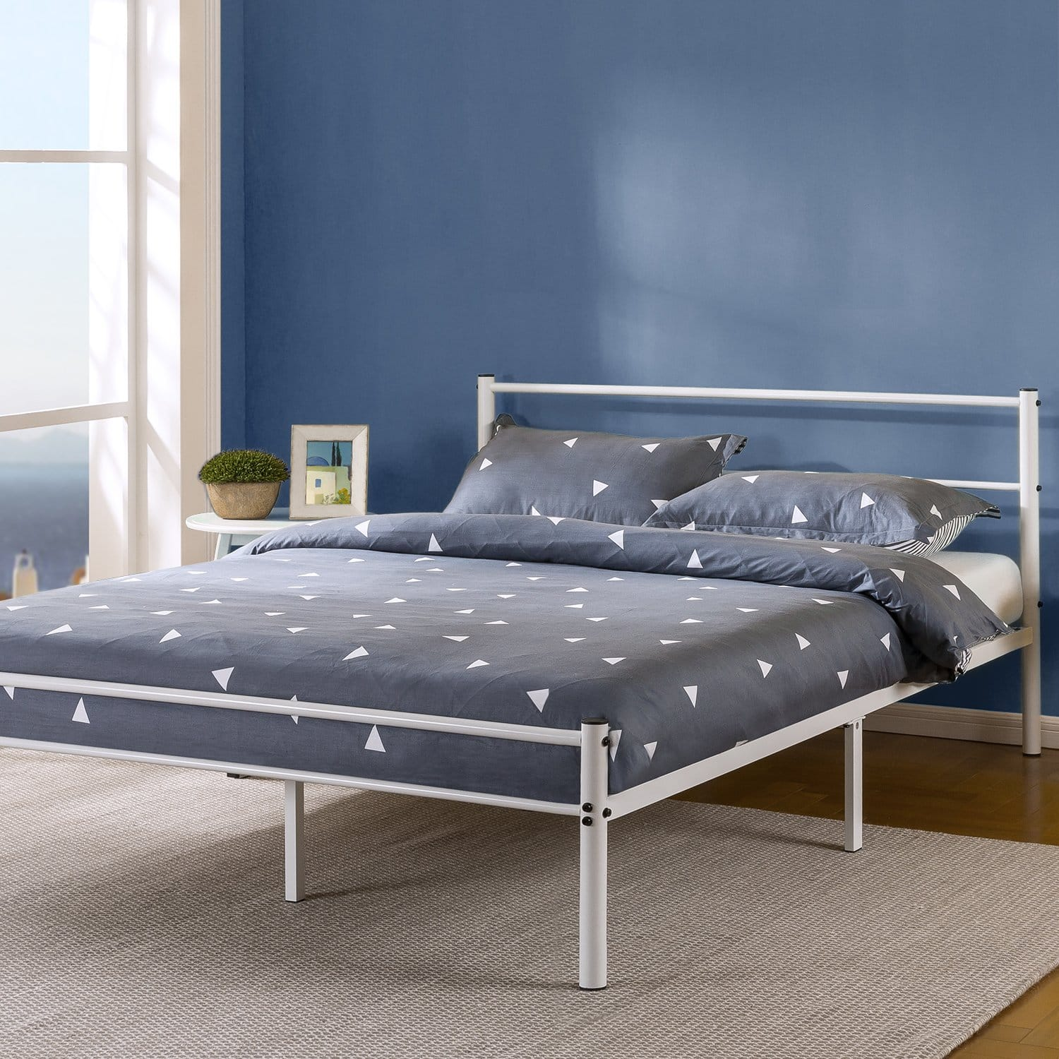 "Zinus Geraldine 12"" Queen Metal Platform Bed Frame w/ Headboard & Footboard (White)"