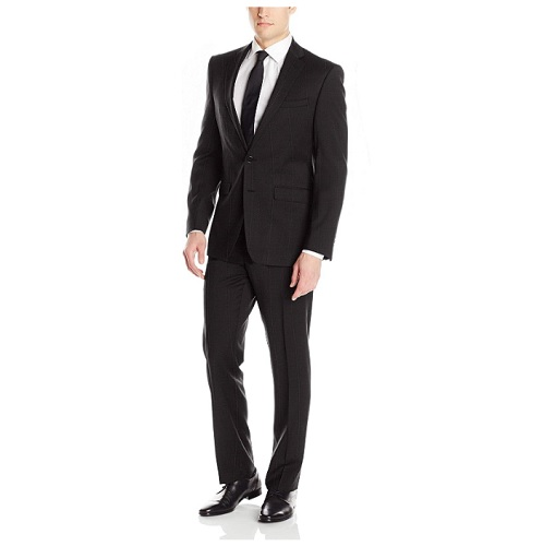Calvin Klein Men's X Fit Stretch Slim Suit, black/burgundy window, 38 Regular