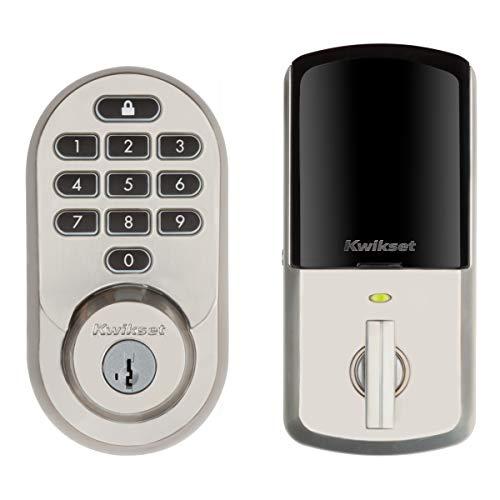 Kwikset 99380-001 Halo Wi-Fi Smart Lock Keyless Entry Electronic Keypad Deadbolt Featuring SmartKey Security, Satin Nickel