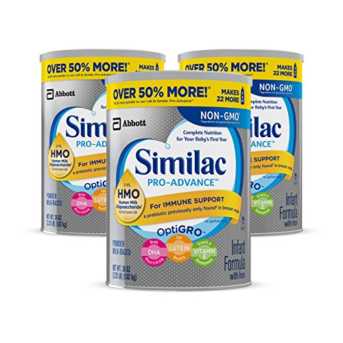 Similac Pro-Advance Non-GMO Infant Formula with Iron, with 2'-FL HMO, For Immune Support, Baby Formula, Powder, 36 oz, 3 Count (One Month Supply)
