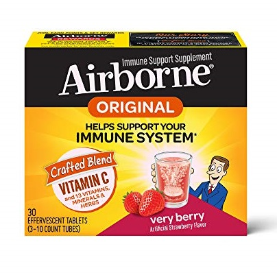 Vitamin C 1000mg - Airborne Very Berry Effervescent Tablets (30 count in a box), Gluten-Free Immune Support Supplement and High in Antioxidants, Packaging May Vary