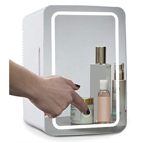 Koolatron COSM6 Mirrored LED Cooler/Mini Fridge for Cosmetics, Beverages, Food, or Medicines (6 Liters/6.3 Quarts)