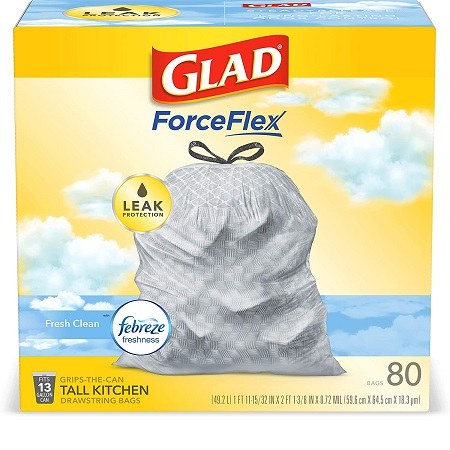 Glad ForceFlex Tall Kitchen Drawstring Trash Bags – 13 Gallon Trash Bag, Fresh Clean scent with Febreze Freshness – 80 Count