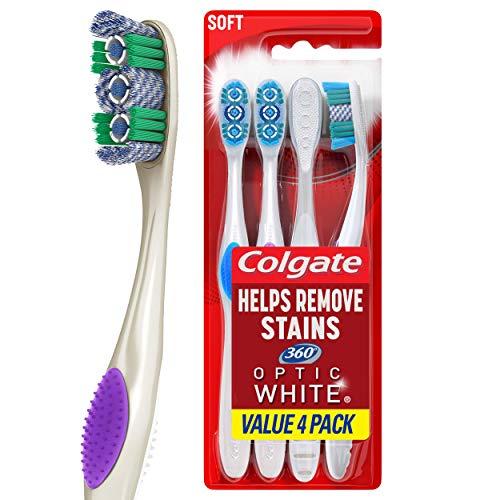 Colgate高露洁 360 光感劲白去渍牙刷,4支装